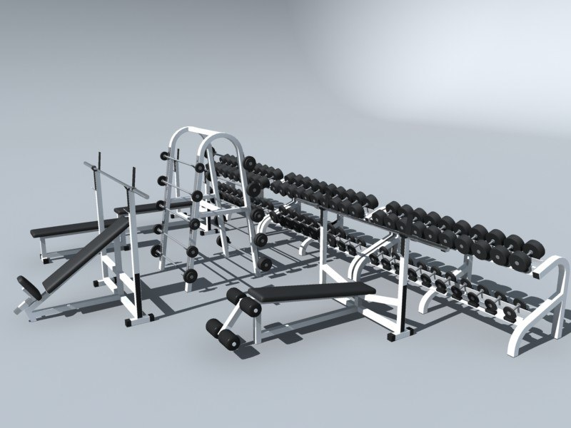 3d max weight set benches dumbbells
