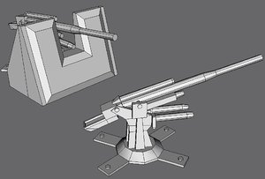 88mm flak cannon 3d model