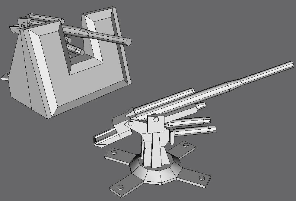 88mm flak cannon 3d model