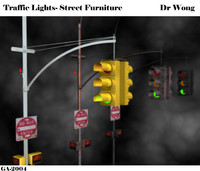 3d max street lamps traffic lights