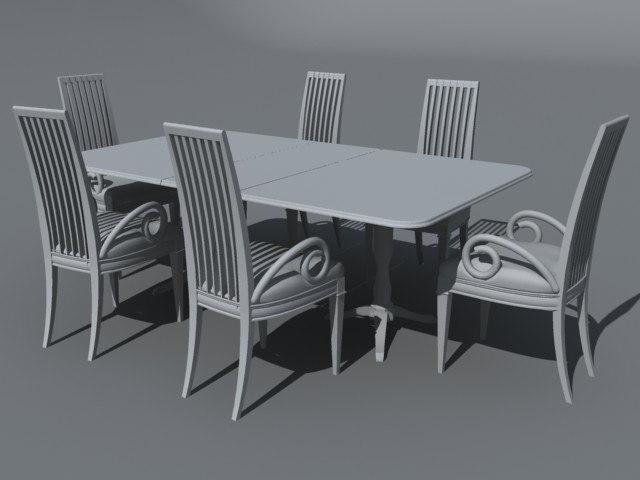 3d model dining table set kitchen