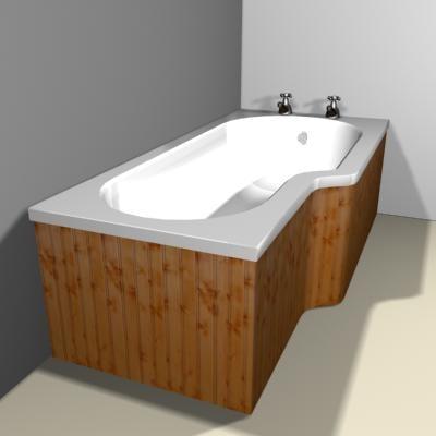 panelled bath shower 3d max