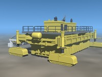 giant asphalt paver 3d model