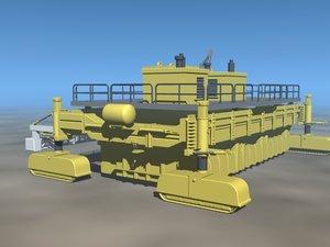 giant asphalt paver 3d model