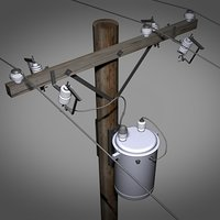 powerline transformer drum pole 3d model