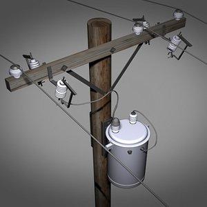 3d model of powerline pole