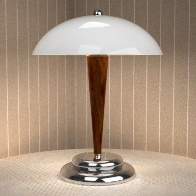 steel wood table lamp lighting 3d model