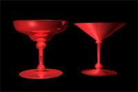 free glasses martinis margaritas 3d model