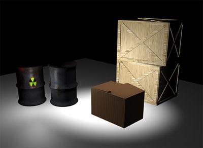 boxes barrels crates 3d model