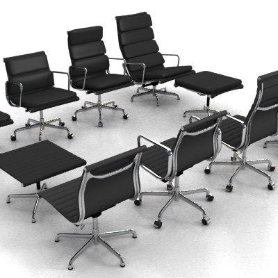 range eames aluminum chairs 3d model