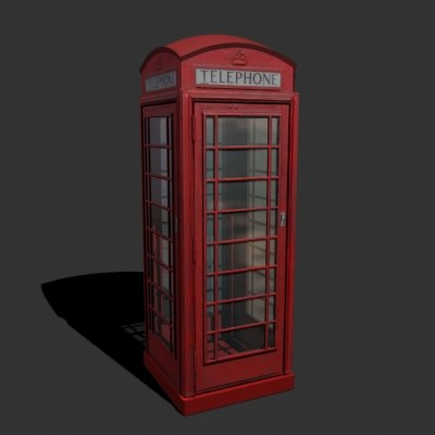 3d model rustic telephone booth