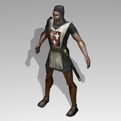 3d model guard human medieval