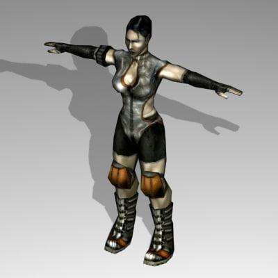 3d human female fighter model
