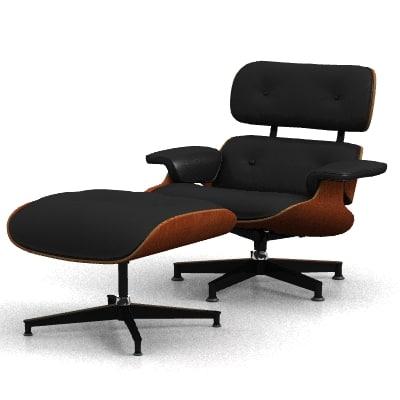 eames lounge chair ottoman 3d model