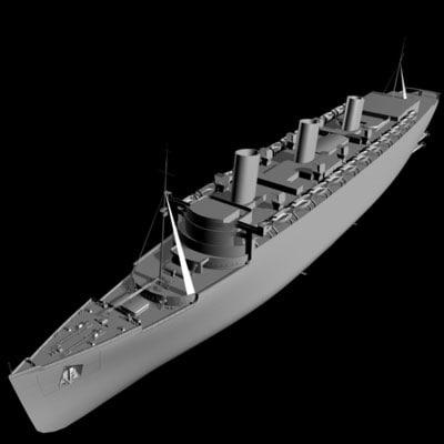 ocean liner queen mary 3d model