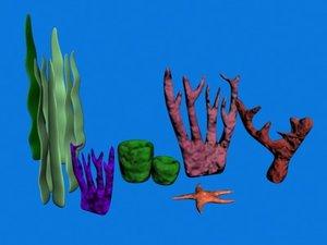 3d underwater props sponges starfish model