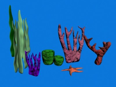 3d underwater props sponges starfish model