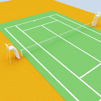 3d model tennis field