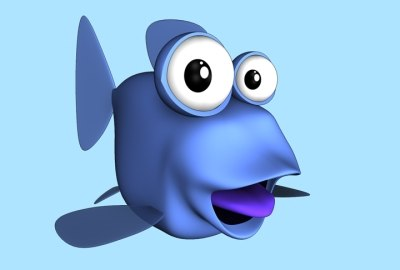 fish character toon cartoon 3d model