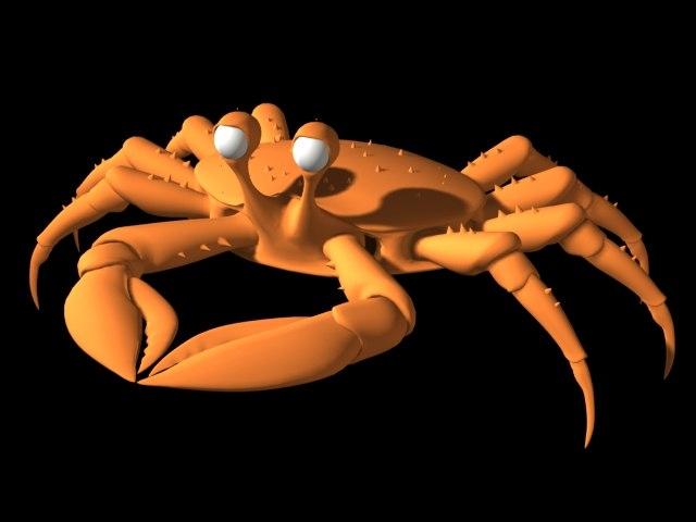 crab toon cartoon 3d model
