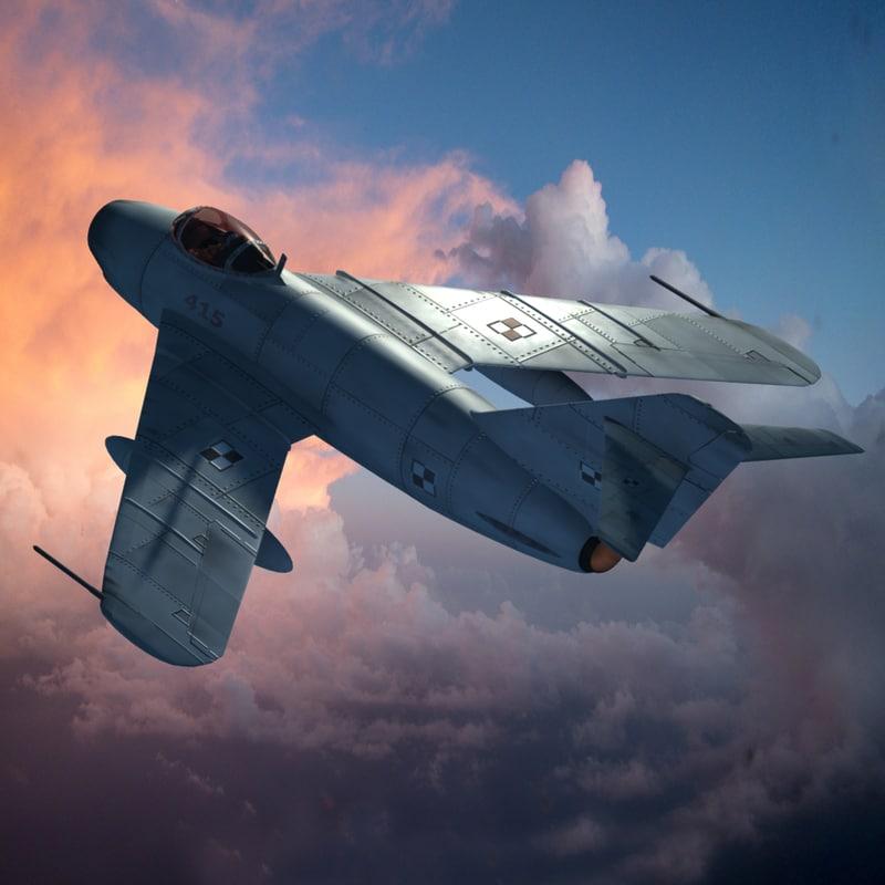 3d model mig-19 jet