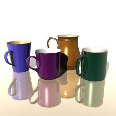 cups mug 3d model