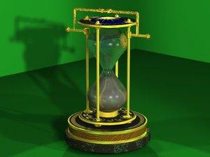 3d ship hourglass glass model