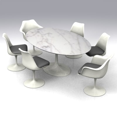 saarinen oval table chairs 3d model