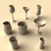 liquor glasses 2 3d max