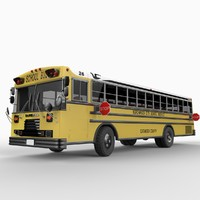 blue bird school bus 3d model