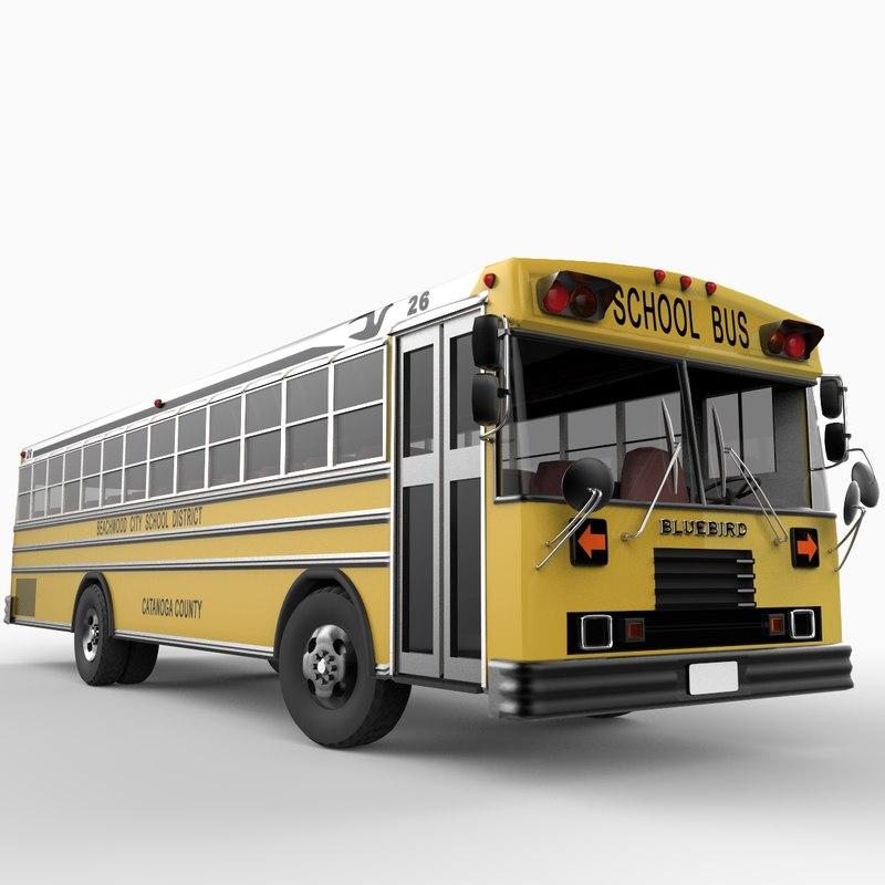 3d model school bus blue bird