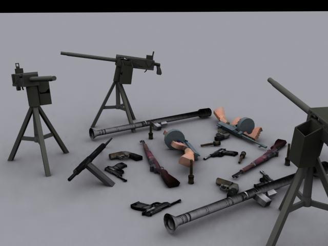 3d model guns ww weapon