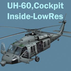 uh60 blackhawk helicopter cockpit 3d model