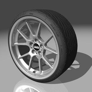 bbs rk wheel michelin 3d model