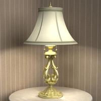 gold table lamp lighting 3d model