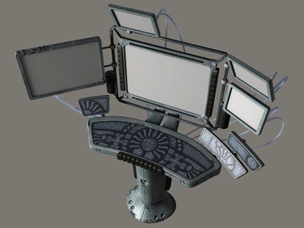 3d terminal scifi computer model
