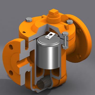 steam traps valve modeled 3d model