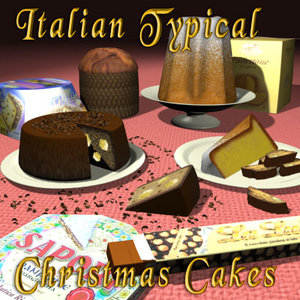 italian typical christmas cakes 3d max