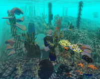 underwater enviroment seaweed 3d model