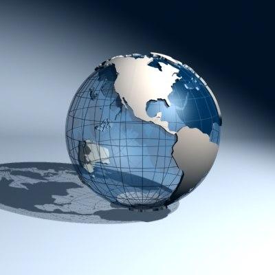 earth planet continents 3d model