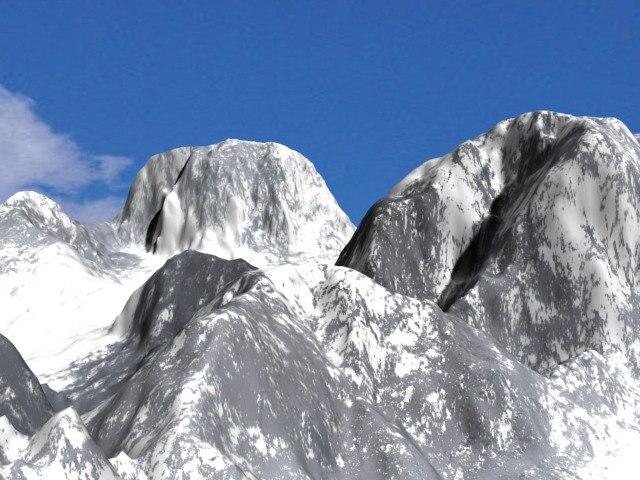 mountain terrain realistic snow 3d model