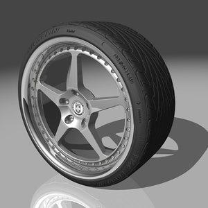 hre 445 wheel tires 3d model
