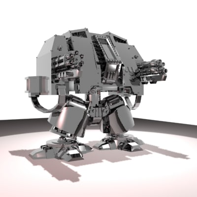 free robot machinegun 3d model