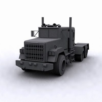 3d max industrial truck vehicle gray