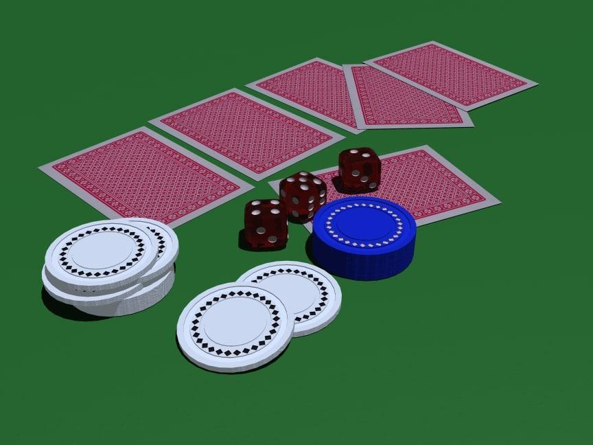 3d poker chips set model