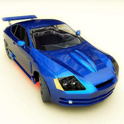 hyundai tiburon coupe tuning 3d model