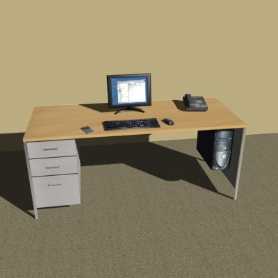 3d model of desk computer monitor