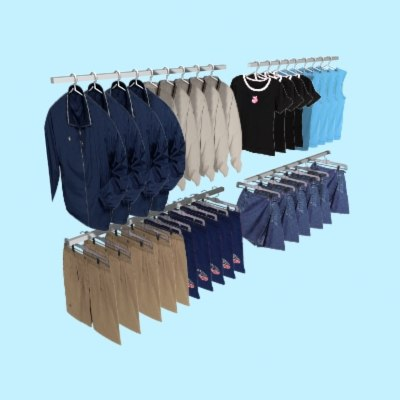 clothing rack retail 3d model