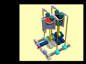 strokes engine animation avi 3d model