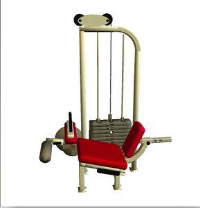 3d model seated leg curl fitness equipment